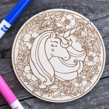 Round Unicorn Head Floral wood coloring panel
