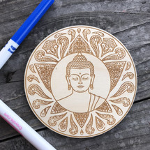 Buddha Round wood coloring panel