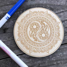 Yin Yang Mandala wood coloring panel