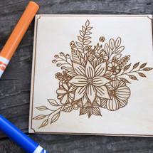 Floral Bouquet wood coloring panel