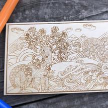 Floral Deer wood coloring panel