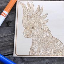 Fancy Bird wood coloring panel