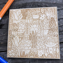 Cactus Landscape wood coloring panel