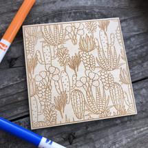 Wild Cactus Landscape wood coloring panel