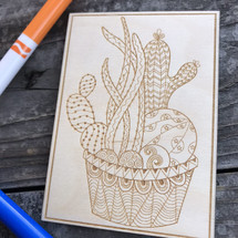 Potted Cacti wood coloring panel