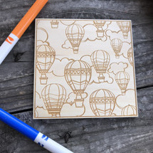 Flying Hot Air Balloons wood coloring panel