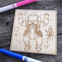 Spaceman wood coloring panel