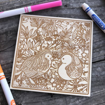 Baby Birds  wood coloring panel