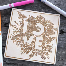 Floral LOVE  wood coloring panel