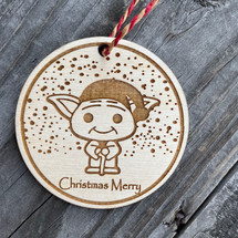 Baby Yoda Santa wood ornament, Christmas, Christmas ornament