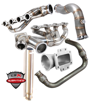 "Single Big T4 Turbo Provision, Supports 700-800 WHP. Upgrade to T6 Provision to support 1,200 WHP  60mm V-band Wastegate and 50mm BOV Provision.  2.5"" Cross Pipe, Excellent Ground Clearance. Above Oil Pan Level.  3"" Turbo Downpipe then Enlarged to 3.5"" Exhaust Pipe  Stainless Steel 1.65"" Runner Tube T4 Turbo Elbow Adapter. Flexible Fitment For Many Turbos 60mm Vband Wastegate Provision 2.5"" Cross Pipe with Vband Connections Comes with 60mm WG Dump Tube  Downpipe: 2 pcs 3"" Downpipe Connects to Turbo (Fits Turbo with 3"" V-band Exhaust Outlet) 3.5"" Straight Exhaust Pipe"