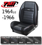 """Front Seat Type: Bucket   64-67 Mustang  Rear Seat Type: Bench     Cover Material: Vinyl     Cover Color: Black     Quantity: Sold as a set.     Notes: Features black suede inserts and red stitching.    TMI Deluxe Pony Sport R seat upholstery will make your heart gallop with excitement! The feel and look of premium vinyl with UniSuede inserts, contrasting stitching, the """"running ponies,"""" and die-cast chrome plated seat buttons offer your beautiful classic Mustang modern, aggressive styling and comfort. These seats feature increased side and leg bolsters (foam required) that complete the ultra-sporty appeal of this upholstery. It fits on the factory frame and utilizes factory attachment points, so you'll be ready to ride off into the sunset in no time. Choose either front bucket seats or a full set with the back seat included. Give your classic a sporty update with TMI Deluxe Pony Sport R seat upholstery."""