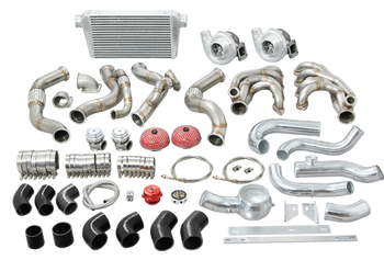"""If symmetry is what you are after in your hot rod and classic build, we understand exactly what you mean!  Single Turbo systems are great for getting the power down, especially the one that we have available exclusively for the 67-91 Chevy/GMC Truck!  This twin turbo kit includes the following:  1-7/8"""" 304 Stainless twin turbo headers with V-Band Clamps T4 Turbo Elbows with Wastegate Provisions 44mm V-Band Wastegates 3"""" Downpipes Oil Line Kit & Fittings Air Filters 76mm .96 A/R Q-Trim Ball Bearing Turbos - perfect for 6.0L - 6.7L LS Motors 