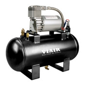 120 PSI Air Source Kits come with a low amp-draw, 25% duty cycle, 275C VIAIR compressor mounted on a 150 PSI-rated 1.5 gallon air tank with 5 ports. All Air Source kits come with a pre-wired pressure switch (P/N 20003 / 90-120 PSI). Click to learn more!