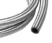 Stainless steel hose consists of a synthetic-nitrile inner tube with a partial stainless steel reinforcement inner braid. On top of that, we add a heavy-duty, protective, full stainless steel braid on the outside, making it exceptionally lightweight, flexible, and durable. Even better, our hose is designed to handle gasoline, oil, or coolant.  Hose Size:-8 AN  PTFE Lined:No  Hose Length (ft):3  Outer Material:Braided stainless steel  Hose Color:Natural  Hose Material:Rubber  Hose Inside Diameter (in):0.438 in.  Hose Outside Diameter:0.641 in.  Minimum Recommended Temperature:-40 degrees F  Maximum Recommended Temperature:300 degrees F  Maximum Operating Pressure (psi):1,000 psi  Quantity:Sold individually.