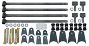 """(4) 1.50"""" TIG WELDED LINK BARS, 32"""" LONG (WHICH CAN BE CUT DOWN) (4) WELD-IN THREADED INSERTS (4) ADJUSTABLE THREADED ROD ENDS (TIG WELDED) (8) 1.5"""" URETHANE BUSHING SETS (8) BUSHING SLEEVES (6) PAIRS OF MOUNTING TABS (1) HARDWARE PACK (6) 9/16 Bolts (6) Locknuts (12) Washers"""