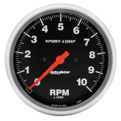 """These Sport-Comp series tachometers are the trademarks of the entire AutoMeter line. With rugged race styling and unmatched performance, they have been in more winning vehicles than any other gauge on the market today. 5"""" Tachometer. Electric."""
