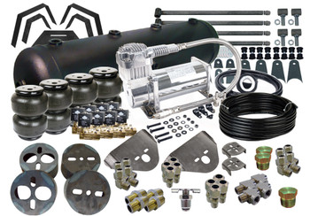 """(4) EASYSTREET D2500 DOMINATOR BAG (1) 82-03 CHEVY S-10/SONOMA/BLAZER/JIMMY FRONT BRACKETS (1) UNIVERSAL REAR OVER AXLE BRACKETS (1) 8-PIECE NOTCH (1) UNIVERSAL 1.25"""" TRIANGULATED 4-LINK KIT (2) VIAIR 380C COMPRESSORS (1) 5-GALLON 9-PORT TANK (BLACK OR SILVER) (1) 50' OF 3/8"""" NYLON D.O.T. AIR LINE (8) DANZ 250 PSI, 3/8"""" NPT VALVE WITH 15mm ORIFICE (4) 3/8"""" STREET TEE (4) 3/8"""" HEX NIPPLE (4) 3/8"""" LINE x 3/8"""" PIPE MALE COMPRESSION STRAIGHT (4) 3/8"""" LINE x 3/8"""" PIPE MALE COMPRESSION ELBOW (4) 3/8"""" LINE x 1/2"""" PIPE MALE COMPRESSION ELBOW (4) 3/8"""" LINE x 1/2"""" PIPE MALE COMPRESSION STRAIGHT (1) 1/4"""" HEX PLUG (2) 1/2"""" HEX PLUG (1) 1/4"""" PIPE DRAIN COCK (1) 7 ROCKER SWITCH CONTROLLER (BLACK) (1) 200psi PRESSURE SWITCH (8) VALVE MOUNTING BRACKETS (1) COMPRESSOR MOUNTING BRACKET (1) 1/4"""" WATER TRAP (BLACK OR SILVER) (1) 1/4"""" HEX NIPPLE"""