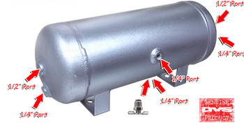 "3-gallon aluminum tank with 6 ports, drain port and 200 PSI Gauge.  Approximately 18"" x 7"" with (4) 1/4"" ports and (2) 1/2"" ports."