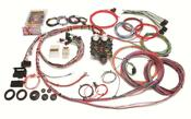 Painless Performance 19-circuit GMC/Chevy truck harnesses consists of a new chassis designed harness for use on 1963-66 GM/Chevy pickups. These harnesses includes a pre-terminated fuse block and high temp, color coded wire. Complete wiring from headlight to taillight.   Each harness includes circuits for:  * Air conditioning / heat * Accessory / Four wheel drive switch * Backup lights * Charging * Dome  * Electric choke * Emergency flashers * Fan relay  * Fused power source * Headlights * Horn * Ignition coil * Instrument panel lighting and gauges (see notes above) * Parking lights * Radio (constant/ignition hot) * Starting * Taillights and trailer lights * Turn signals * Wipers
