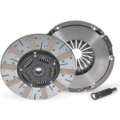 """STREET & COMPETITION PERFORMANCE UP TO 650 HORSEPOWER! Powergrip HD is a true street/strip competition clutch that can survive spirited street driving and roaring race weekends. The main difference between the HD and standard Powergrip is disc surface; both HD friction surfaces are sintered iron. Sintered iron provides enough slippage on launch to prevent the violent, uncontrollable engagement characteristics of metallic paddle-type discs.  Such firm, consistent engagement is easy to control yet expect some chatter from street applications with rear gearing under 3.73. The 8-spring hub features RAM poly-coil damper springs encased in polyurethane for greater load capacity and extended hub life. Units can handle three times the shock load of just the coil spring (standard in all RAM Competition Discs). Kit includes flywheel, pressure plate and  alignment tool.  Powergrip HD Clutch Kit  1997-2012 GM LS1 (Flat Flywheel) 12"""" Diameter 1-1/8"""" x 26-Spline Bearing not included"""