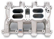 """Small Block Gen III LS Series Engines Manifold Height: (A) 5.05"""", (B) 5.64""""Click here to determine carburetor pad height Uses LS1/LS6 style individual port o-ring seals. Designed for use with Edelbrock or Carter carburetors only. Recommended intake gasket; Fel-Pro 375-MS92438 Carburetor Recommendations: Edelbrock Thunder Series AVS or Performer Series carb, 500 cfm."""