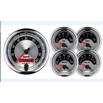 "Feature Points Modern white LED through-the-dial lighting provides clear visibility during nighttime use Kit includes fuel level sender (240E/33F), oil pressure sender, water temperature sender, 2-wire hall-effect speed sender that is compatible with GM/Chrysler applications (7/8"" - 18THD), sending unit adapters (1/4"", 3/8"", and 1/2-1/16"" NPT adapters), mounting hardware, and detailed instructions for installation. Auto Meter's race proven air-core electric instruments provide quick and accurate readings while keeping hazardous fluids outside of the vehicle 12 and 16 volt compatible, compatible with nearly every street car or race car electrical system Speedometer has a simple push button, 2 mile drive calibration. No dip switches and can be reprogramed at any time to accommodate changes in gear ratio or wheel and tire combination. Speedometer is compatible with most two wire sine wave and three wire hall effect vehicle speed sensors. Speedometer features lit LCD odometer - capable of registering one-million miles with two resettable trip odometers"