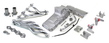 Tired of trying to piece things together? Look no further! Now you can have LS power in your 4WD square or OBS SUV!  This LS swap kit is for 1973-1987 GM ½ ton 4 wheel drive trucks and 1973-1991 2wd SUV. It was designed around our GM LH8 Oil Pan kit. The frame brackets bolt into existing holes in the frame and was designed to give you the best options for other components. Unlike other mounts, ours position the engine so there is no steering interference, and our crossmember maintains the proper drive-line angle for smooth highway cruising. It provides clearance for the factory AC box, power brake booster, and aftermarket suspension components.  The following combined parts offer an easy, strong, and clean installation of your LS engine. Includes everything you see here!