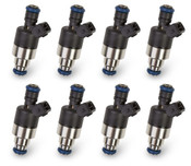 Bosch/EV1 style performance injectors - Set of 8 Low impedance (2.2 Ohms) for use with peak and hold drivers Rated injector flow: 120 lb/hr @ 43 PSI Supports up to 1900 horsepower Tri-cone spray pattern