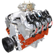 "Overview  HP & Torque: 625 HP / 550 FT LBS Compression Ratio: 11.0:1 Aluminum Heads Forged Pistons Roller Cam Forged Crank Part #: PSLS4270CTC Block  New GM LS3/L92 Aluminum Block! Rotating Assembly  Forged Steel Crankshaft Forged Mahle Pistons Forged I beam rods Mahle performance rings Balanced Rotating Assembly Hydraulic roller cam Premium single true roller timing set GM factory roller rockers with upgraded full roller trunion Cylinder Heads  New BluePrint Aluminum Cylinder Heads - PS8015 Chrome moly retainers and spring locators 2.165 intake valves 1.590 exhaust valves Hardened push rods Cam Specs  Roller - .624 intake .624 exhaust lift, 247 intake 263 exhaust duration @ .050, 114 degree lobe sep. Ignition Timing  Ignition box required Also Includes  Carburetor "" 850cfm with mechanical secondaries, dual accelerator pumps and mechanical choke Single plane aluminum intake Harmonic balancer Valve covers, retro fit oil pan and timing cover Coil Packs and coil pack harness Crank, cam and MAP sensors Spark plug wires & wiring harness Dyno tested & shipped with results Warranty  30 month / 50,000 mile Notes  This engine requires a non-weighted flexplate/flywheel. Recommended Fuel: 91 OctaneBluePrint Engines recommends a 2200+ RPM stall converter.Retro fit oil pan will fit most 1955-1995 GM front engine, RWD, V8 cars"