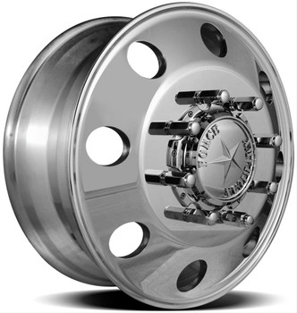 Front Wheel Diameter (in): 22.5 in. Front Wheel Width (in): 8.250 in. Front Wheel Offset: +169.00mm Front Wheel Backspacing (in): 12.500 in. Front Wheel Material: Aluminum Front Wheel Primary Color: Black Front Wheel Finish: Matte Rear Wheel Diameter (in): 22.5 in. Rear Wheel Width (in): 8.250 in. Rear Wheel Material: Aluminum Rear Wheel Primary Color: Black Rear Wheel Finish: Matte Wheel Construction: 1-piece Front Wheel Beadlock Included: No Front Wheel Beadlock Functional: No Rear Wheel Beadlock Included: No Rear Wheel Beadlock Functional: No Lug Nuts Included: No Lug Nut Seat Style: Flange Wheel Adapter Included: Yes Center Cap Included: Yes Valve Stems Included: Yes Valve Stem Material: Aluminum Valve Stem Finish: Polished Quantity: Sold as a set of 4. Notes: Included hub adapters adapt a 8 x 6 1/2 in. vehicle bolt pattern to a 10 x 285mm wheel bolt pattern.
