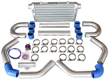 """Product Info and Spec: Intercooler Kit: Bar & Plate Construction Core Size: 24""""x12""""x4"""" Overall Size: 31""""x12""""x4"""" 4"""" Thick Core, 3"""" Inlet & Outlet 3"""" Aluminum Piping Kit 50mm BOV"""