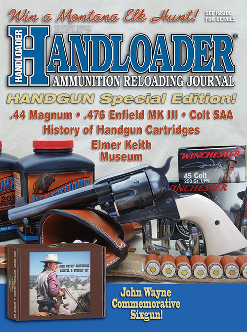 """On the cover... Celebrating 100 years of John Wayne, the John Wayne Red River D Classic is a USFA Single Action .45 Colt with the Duke's """"movie gun"""" re-created with a worn blue finish and mellow-aged ivory stocks.  The Holster set was issued by Helgen Industries, Inc. and crafted by DeSantis Holster & Leather Good Co.  This set is authorized by Wayne Enterprises LP.  Also shown are Winchester's John Wayne signature ammunition and Blackhorn 209 black-powder substitute by Western Powders.  Photo by G. Hudson."""