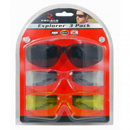 Explorer Eye Protection - 3 Pack Clear, Smoke, Amber