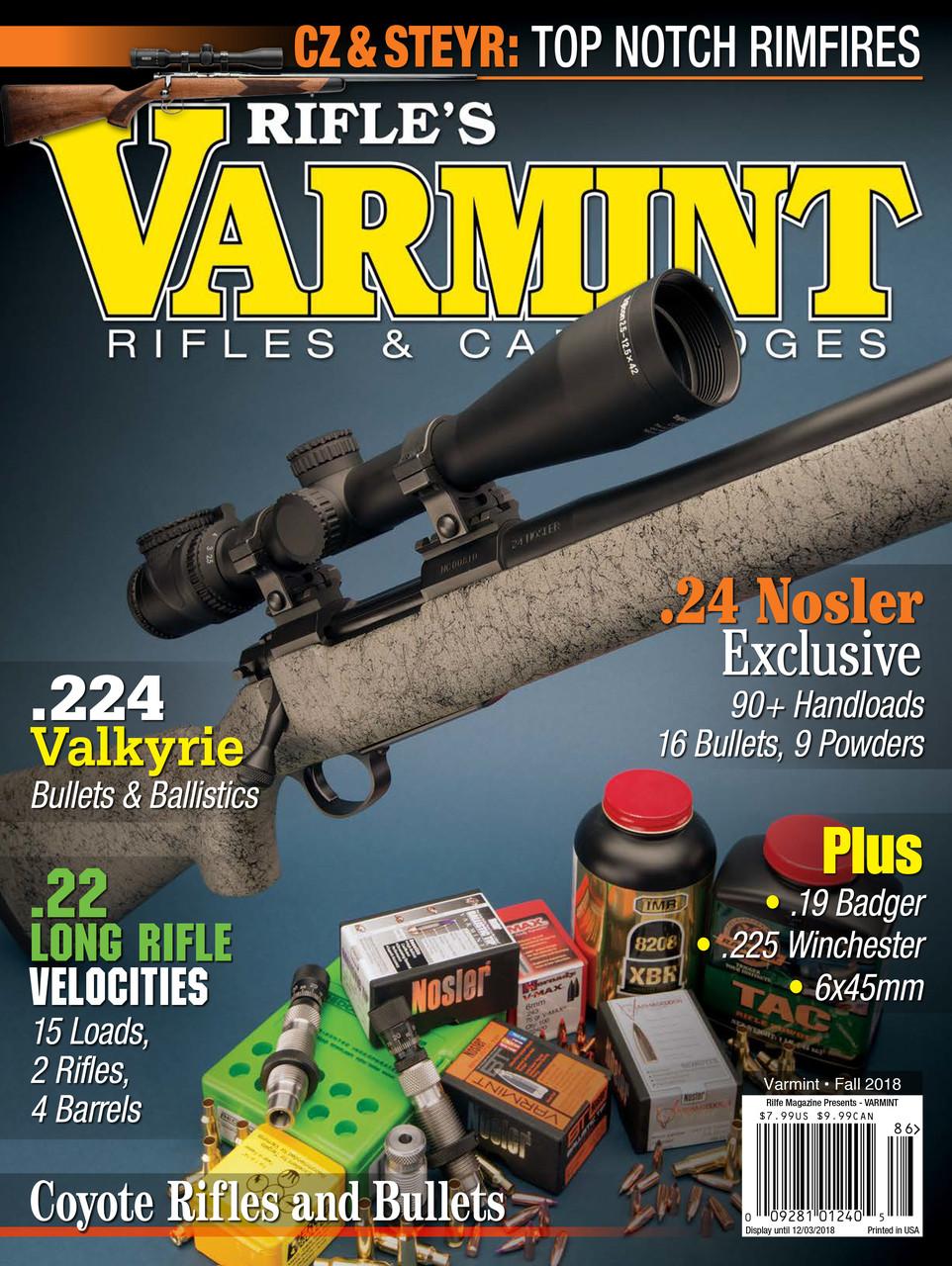 Fall 2018 Varmint Rifles & Cartridges