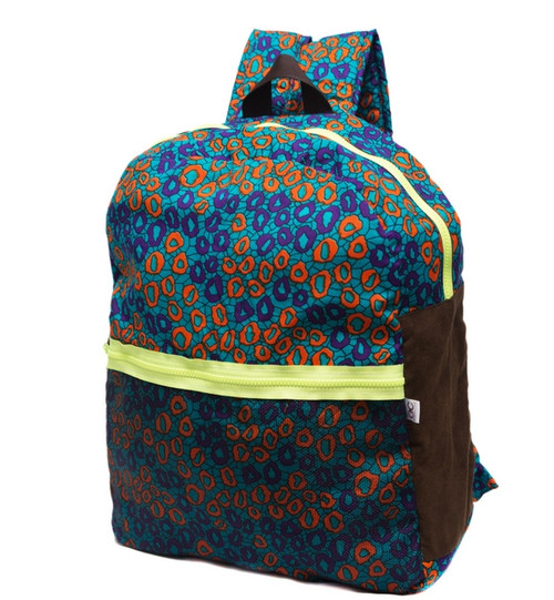 Sanyabackpack, printed in vibrant African print. thisbackpack is a lightweight cottonpiece, finished with net in the frontwithvibrant neonzips for extra compartments. It also hasa generously sized interior - perfect for everything Summer vacation, laptops and books. The adjustable straps are cushioned to ensure comfort.  - Multicolored cotton fabric - Zip fastening - African print - Weighs approximately 1.8lbs/ 0.8kg - Made in West Africa This item's measurements are: Depth 18cm Handle Drop 9cm Height 40cm Width 37cm