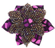 Starfish beaded jewel and print fabric brooch. Delicately handcrafted, for sophisticated and unique style. We Love! Pairs well on a jacket or plain coloured blouses.