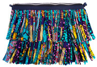 Katie Fringe Purse intricately handmade with print cotton fabric made into fringes and stitched on to make a cute purse. Comes with a long chain so can also be worn as a cross body bag. Made in Nigeria, West Africa Measurements 34cmX23cm
