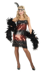 SEQUIN FLAPPER stretch red adult womens sexy costume XS
