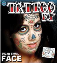 Sugar Skull Face Temporary Tattoo Tinsley Transfers