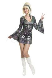 SILVER DISCO DIVA go go dancer retro mini dress womens costume halloween XS