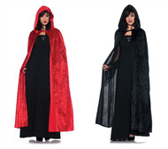 "55"" Hooded Velvet Cloak Costume Accessory"