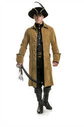 Tan Suede Buccaneer Pirate Jacket Mens Costume