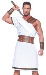 GREEK WARRIOR roman white toga adult mens gladiator halloween costume party