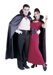 "56"" black satin CAPE mens vampire halloween costume"