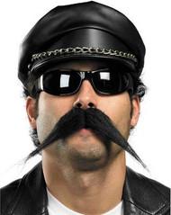 BIKER MUSTACHE black movember pointy facial stache mens adult costume accessory