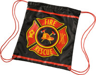 Kids Black Firefighter Drawstring Backpack