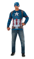 adult mens Captain America Costume Top and Mask