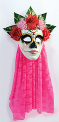 Day of the Dead Mask Senorita Pink Lace adult womens Halloween costume