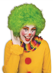 green Color Team Spirit Clown WIG adult womens mens Halloween costume accessory
